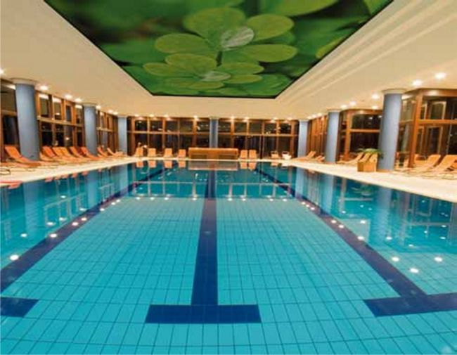 Swimming pool with a printed stretch fabric ceiling