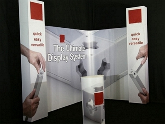 A completed exhibition stand constructed from the T3 modular system in less than 45 minutes