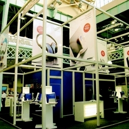 Large graphic drops used on a Leitner 10 modular exhibition stand
