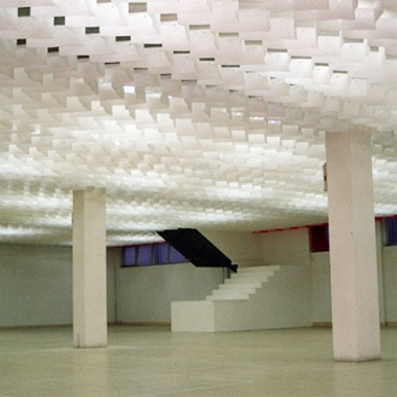 Drop Papers Stretch Fabric Ceilings Illuminated