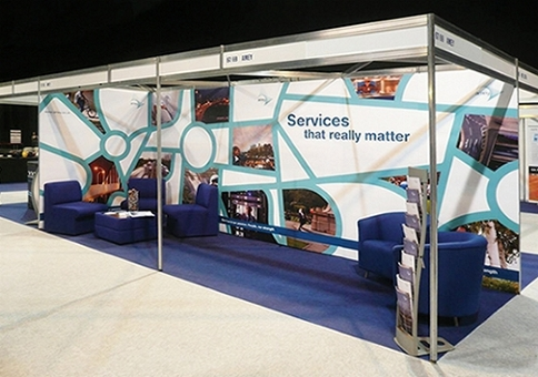 Shell scheme transformed into a conventional looking exhibition stand